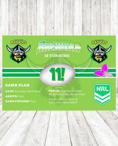 DIY Print Custom NRL BRISBANE BRONCOS FOOTBALL TEAM Birthday Party Invitations