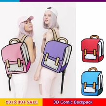 Free Shipping 2015 Hot Selling Women Outdoor Travelling Bag 3D Comic Backpacks Unisex Jump Paper Knapsack Canvas Schoolbag(China (Mainland))