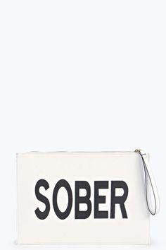 Drunk Sober Reversible Slogan Clutch alternative image