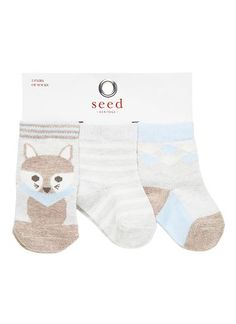 Baby novelty printed socks 3 pack. All printed designs are exclusive to Seed Heritage. Cotton/Nylon/Elastane