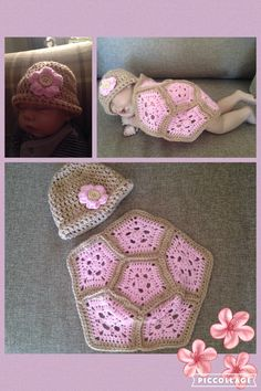 This Newborn/Preemie Turtle Crochet Pattern Photo Prop is easy to make and are just 6 crochet pentagons stitched together. An adorable photo prop for a sweet baby. This will look perfect paired with a matching beanie. Baby Cocoon Pattern, Crochet Baby Cocoon, Crochet Baby Clothes, Crochet Baby Hats, Love Crochet, Baby Knitting, Crochet Crafts, Crochet Projects, Baby Kostüm