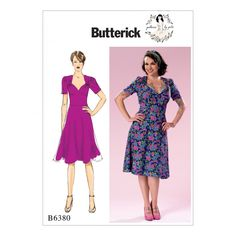 Butterick Ladies Sewing Pattern 6380 Sweeheart Neckline Dress with Gathered Bodice | Sewing | Patterns | Minerva Crafts
