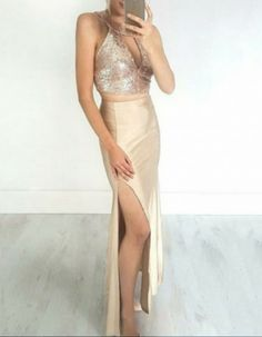 Two Piece Jewel Ankle-Length Champagne Stretch Satin Keyhole Prom Dress with Sequins A Line Prom Dresses, Tea Length Dresses, Formal Evening Dresses, Sexy Dresses, New Party Dress, Wedding Party Dresses, Stretch Satin, Ankle Length, Ball Gowns