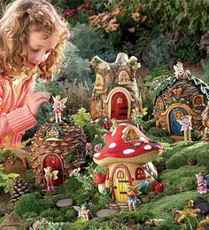 Create a wondrous fairy garden with HearthSong's magical fairy village! Choose from 5 handcrafted fairy houses & matching fairies to create your own fairy land. Mini Fairy Garden, Fairy Garden Houses, Kid Garden, Garden Homes, Fairy Gardening, Fairies Garden, Gardening Tips, Fairy Land, Fairy Tales