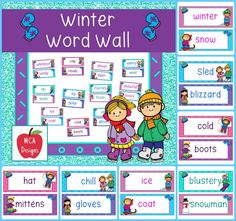My Winter Word Wall features 68 word wall cards which can be used as part of a winter writing center or to create a fun winter bulletin board! Each word wall card is accented with bright colors and winter graphics.