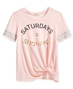 Kandy Kiss Saturdays = Shopping Twist-Front T-Shirt, Big Girls (7-16) - Pink XL