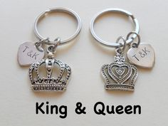 Couple Keychain Set King and Queen Crown Key by JewelryEveryday