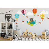 Found it at Wayfair.ca - 18 Piece Bear Flying Airplane with Hot Air Balloons Wall Decal Set