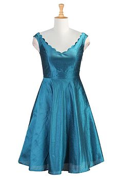 Scalloped neck dupion dress, gorgeous for an enchantment under the sea party!