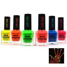 6-Pack: Santee Glow-in-the-Dark Nail Polish Collection