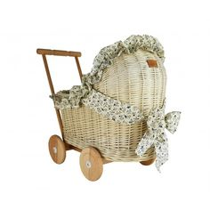 Wiklibox wicker & alder wood doll pram in ECRU (creamy) colour with bedding and ribbon (variants available). Wooden Wheel, Dolls Prams, Pull Toy, Ribbon Design, Cotton Bedding, Ribbon Colors, Baby Decor, Floral Motif, Retro