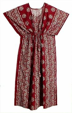 White Batik Print on Red Cotton Kaftan (Cotton)) Kurtha Tops, Cotton Kaftan, Batik Prints, Simple Dresses, Night Gown, Blouse Designs, Tunic Tops, Saree, Kaftans