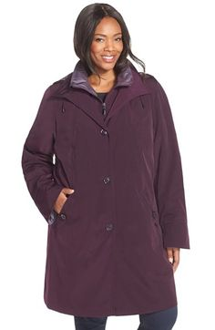 Gallery Two-Tone Long Silk Look Raincoat (Plus Size) available at #Nordstrom