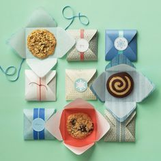 Three delicious cookies -- chocolate-almond spirals, lemon-oatmeal lacies, and cowboy cookies (chock-full of nuts, coconut, and chocolate chunks) -- meet one clever wrapping idea: Line easy-to-make paper envelopes with waxed tissue, and seal with punched-paper labels.