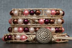 wrap bracelet mixed pink brown and cream glass by CorvusDesign