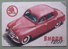 Fifties Skoda brochure in Spanish. Retro Cars, Vintage Cars, Antique Cars, Car Brochure, Pony Car, Car Posters, Car Advertising, Pedal Cars, Ms Gs