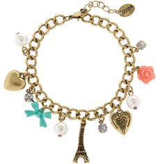Antique Gold Paris Treasures Charm Bracelet   Claire's ($35) ❤ liked on Polyvore featuring jewelry, bracelets, accessories, antique gold bangle, antique gold jewellery, charm bracelet, antique gold jewelry and antique gold charm bracelet