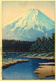 Mt. Fuji Seen from Oshino, by Kawase Hasui, 1942 (1945-57)