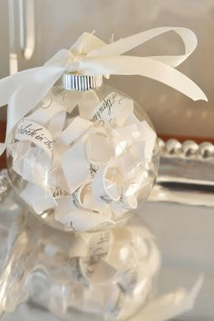 Wedding invite shredded, and put in an ornament. I've got to do this...
