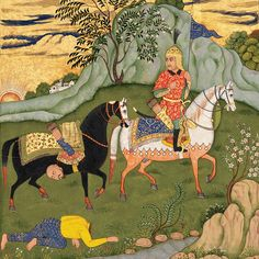 Bizhan Returns Triumphant from his Duel with Palashan  A folio from a Shahnameh of Ferdowsi Mughal India, circa 1775 – 1800 Opaque watercolour and gold on paper Folio: 39 x 27 cm Miniature: 19 x 14.5 cm Prahlad Bubbar — Artworks