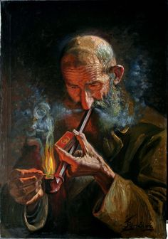 Old man smoking pipe- Oil painting on canvas - by Jafar Petgar - Iranian Artist,- 1941