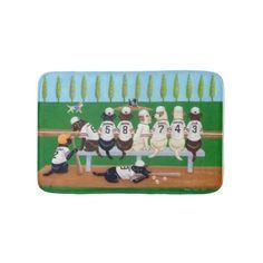 Baseball Team Labradors Bath Mat