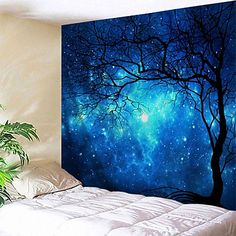 Wholesale Wall Hanging Art Decor Galaxy Tree Print Tapestry - Blue Inch * Wholesale Wall H Vintage Wall Art, Vintage Walls, Vintage Wood, Inspire Me Home Decor, Art Decor, Home Wall Decor, Decoration, Decor Ideas, Art Mural