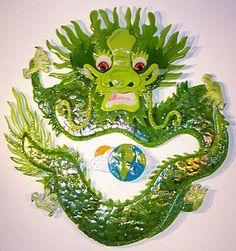 Earth Dragon Circle Glass Art