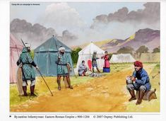 Byzantine Infantryman: Eastern Roman Empire c. Camplife on campaign in Armenia Military Art, Military History, Byzantine Army, Medieval, Early Middle Ages, Dark Ages, Illustrations, Roman Empire, Wedding Tips