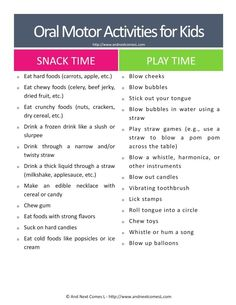 Free printable list of oral motor activities for kids who have sensory processing disorder and/or autism from And Next Comes L