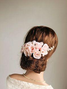 Blush rosa cabello vid nupcial peine pedazo por NoviaBellaTS