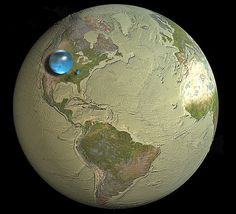 "A Dessicated Earth: ""The medium sized sphere is all liquid fresh water. 99% of it is trapped in the ground where it's hard to reach. The tiny speck above Atlanta, Georgia is the fresh water in lakes and streams. That's the water we all rely on"""
