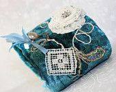 Victorian Velvet Lace Cuff Hand Embroidery Sea Gypsy Cottage Chic