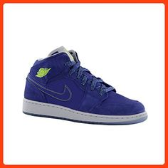3772a3ada2bf7e Air Jordan 1 Mid Retro (Kids) - Deep Royal Blue   Wolf Grey-Fierce Green