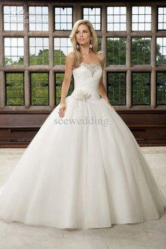 Custom Glittering Princess White Strapless Swetheart Tulle Beaded Handmade Flowers Ball Gown Wedding Gowns 2013 Crystal Wedding Dresses