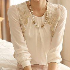 New Fashion Women Long Sleeve Vintage Sheer Tops Lace Shirt Chiffon Blouse HY