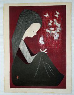 RARE Japanese WOODBLOCK - Kaoru KAWANO - BUTTERFLIES - Signed/Numbered