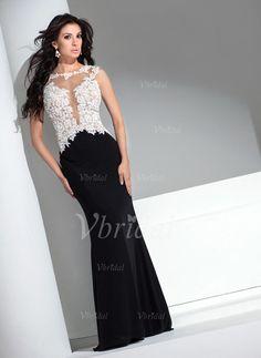 Abendkleider - $124.99 - Trompete/Meerjungfrau-Linie U-Ausschnitt Sweep/Pinsel zug Chiffon Spitze Abendkleid (0175056094)