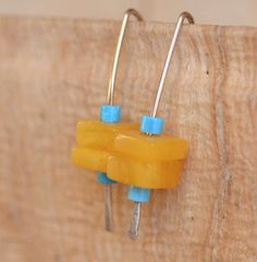 Amber Stacks Hand Forged Sterling Silver Earrings