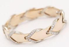 "14k Gold and Diamond ""Leather Rein"" Bangle Bracelet"