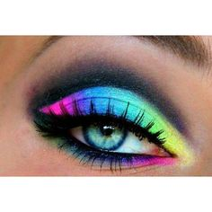 neon rainbow eye makeup Make up ❤ liked on Polyvore featuring beauty products, makeup, eye makeup, eyes and beauty