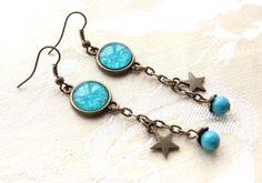boucles d'oreilles cabochon motif bleu, étoile bronze n.26 : Boucles d'oreille par naifane-bijoux