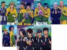 anime, the prince of tennis, higa, fudoumine, shitenhouji, kuranosuke shiraishi, eishirou kite, kenya oshitari, hikaru zaizen, koharu konjiki, yuuji hitouji, gin ishida, senri chitose, kippei tachibana, senri shitose, shinji ibu, akira kamio