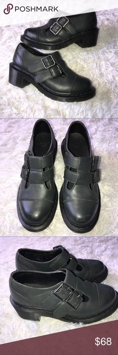 Doc marten women's 7 grey Ivy Chunky heel shoes Doc marten  IVY Chunky heels shoes  Women's size 7  Dark grey with black bottoms  Buckle tops  Great condition Dr. Martens Shoes Platforms