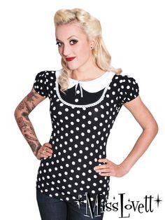 DAISY_03 S/W Polkadot Bubikragen Shirt XS-L von MISS LOVETT® - Mit Liebe handgefertigt seit 2011 auf DaWanda.com
