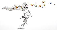 Girl  chasing butterflies by Eliza Wheeler