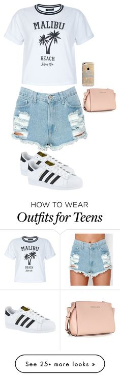 """Untitled #2344"" by anisaortiz on Polyvore featuring New Look, adidas, Michael Kors and Agent 18"