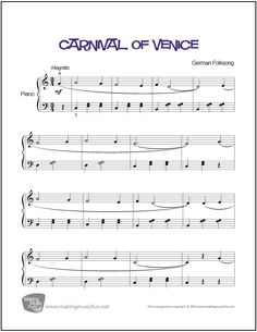 Carnival of Venice | Sheet Music for Piano - http://makingmusicfun.net/htm/f_printit_free_printable_sheet_music/carnival-of-venice-piano.htm