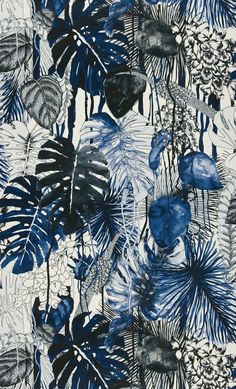 This is an image of a Christian Lacroix fabric. It has such a painterly feel and I love it in these inky blue tones.