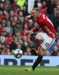 Wayne Rooney of Manchester United has a shot on goal during the Premier League match between Manchester United and Crystal Palace at Old Trafford on. Match Of The Day, Wayne Rooney, Manchester United Football, Premier League Matches, Old Trafford, Crystal Palace, Football Season, Soccer, The Unit